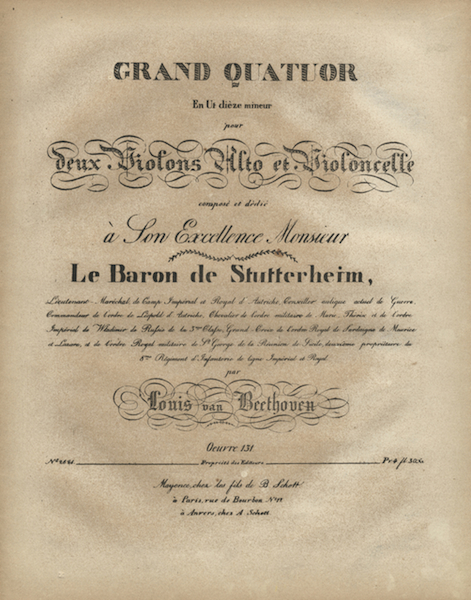 Cover page to Op. 131 first edition score.